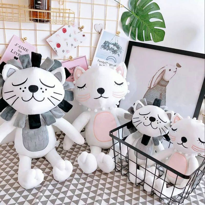 40cm Kawaii Plush Cat Lion Doll Toys For Children Room Decor Stuffed Plush Toys Kids Baby Appease Doll Christmas Gift