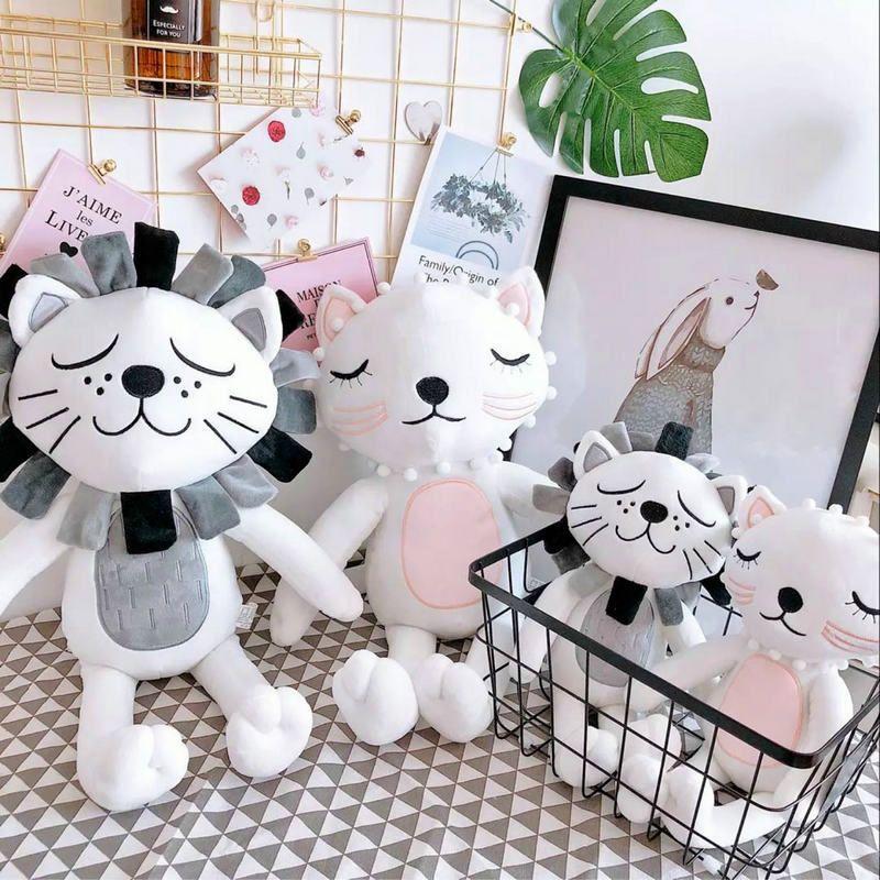 40cm Kawaii peluche chat Lion poupée jouets pour enfants chambre décor peluche jouets enfants bébé apaiser poupée cadeau de noël