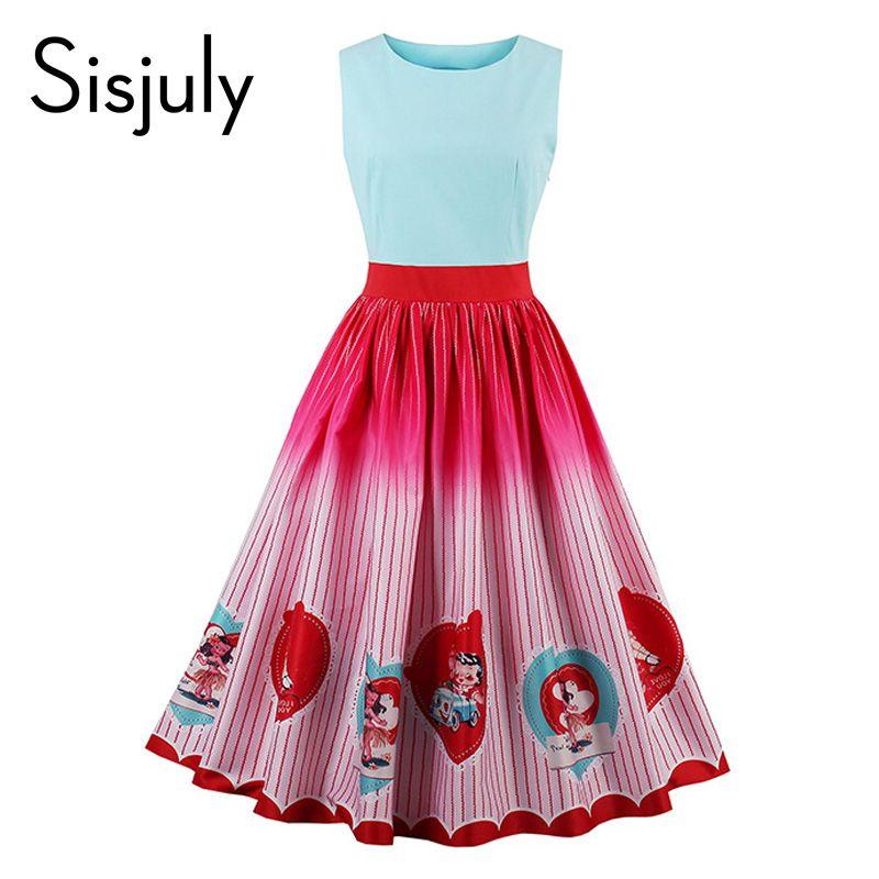 Sisjuly женщин старинные платья 1950 S лоскутное характер печати милое платье ретро в полоску без рукавов элегантные женские винтажные платья
