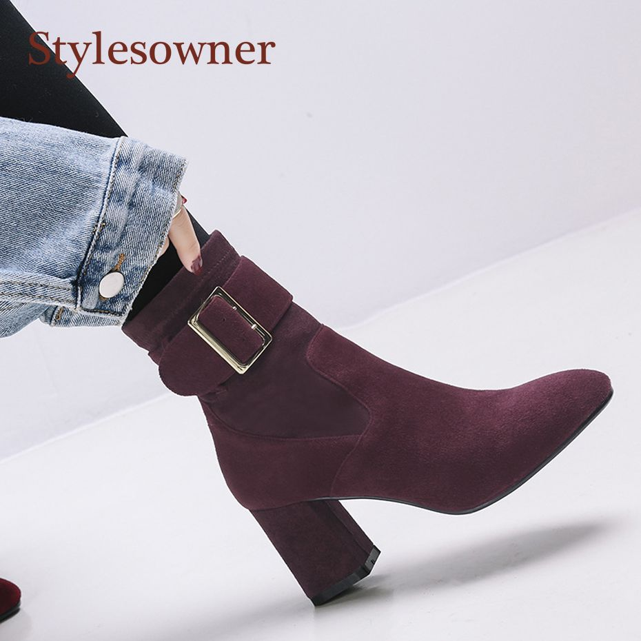 Stylesowner Kid Suede Lady Elegant All Match Chelsea Boots Ankle Belt Buckle Chunky Heel Black Wine Red Fashion Slim Short Boots
