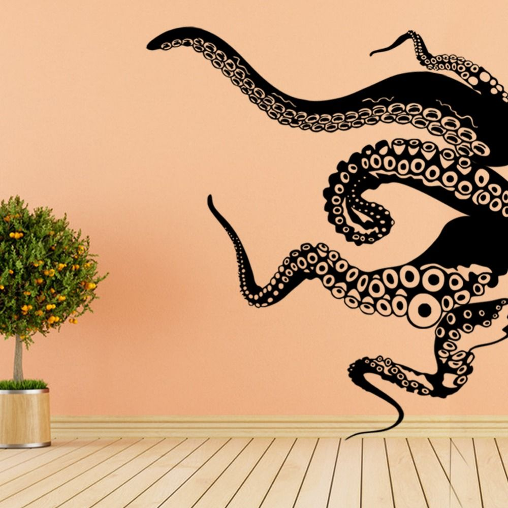 Large Size Octopus Tentacles Vinyl Wall Sticker Art Background Living Room DIY Home Decor Removable Bathroom Sticker Mural