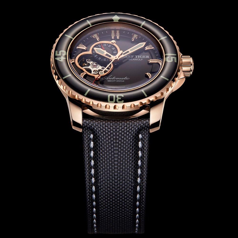 Riff Tiger/RT Sport Automatische Uhren für Männer Rose Gold-Ton Super Leucht Dive Uhr 200 M RGA3039