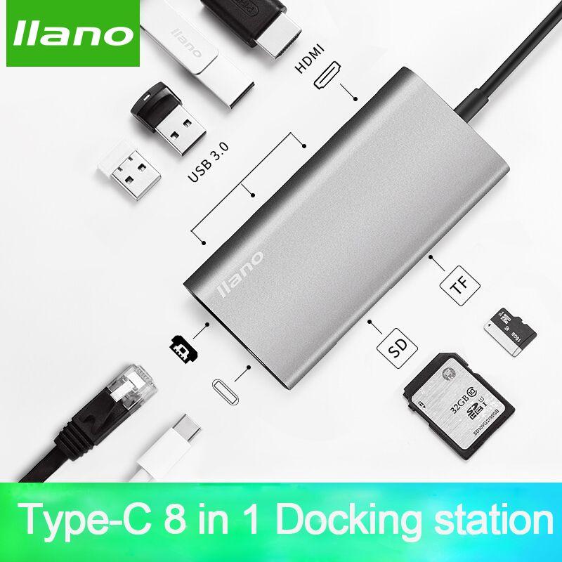 llano USB HUB USB C to HDMI RJ45 PD Thunderbolt 3 Adapter for MacBook Samsung Galaxy S9/S8 Huawei P20 Pro Type-C USB 3.0 HUB