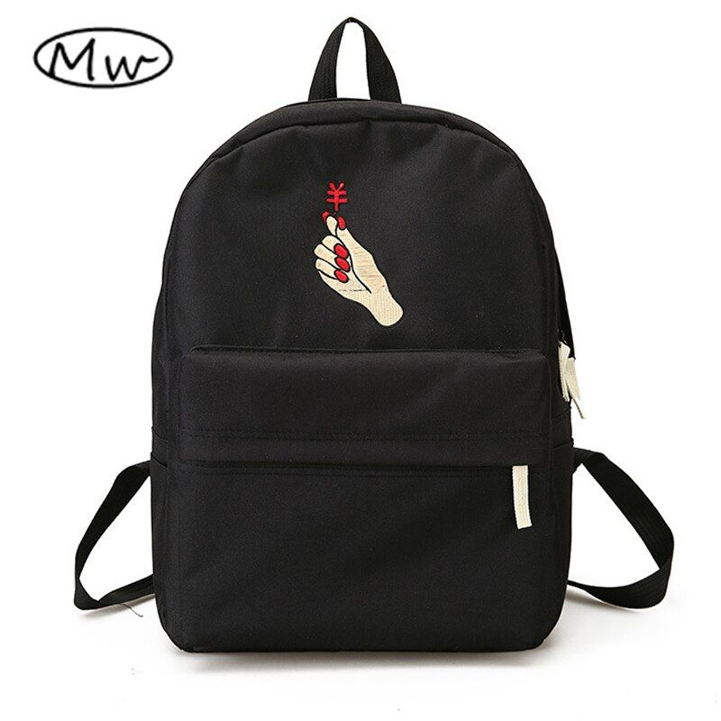 Moon Wood Unisex Backpack Black White Harajuku Embroidery Heart <font><b>Couple</b></font> Backpacks School Bags For Teenager Girls Boys Rucksack