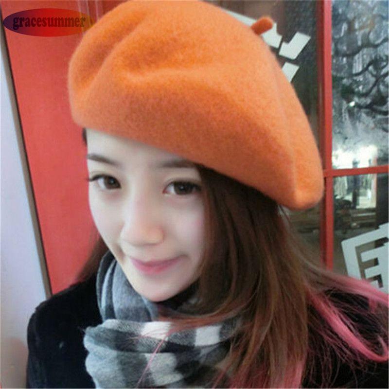 Moda invierno caliente muchacha de las mujeres sombrero de la boina de color sólido casual beanie cap boina mujer