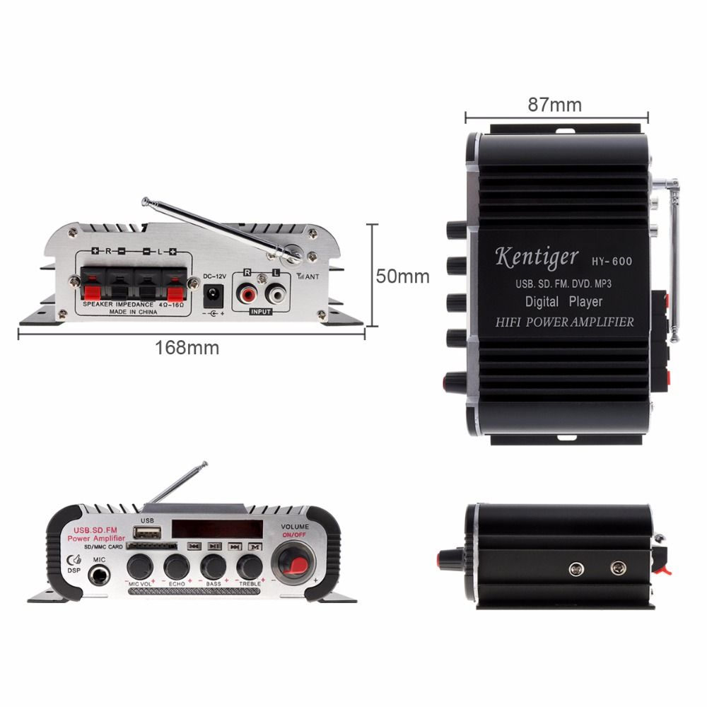 HY-600 DC12V 5A2CH HI-FI Car Audio Power Amplifier FM Radio USD MP3 Stereo Digital Player Support U disk SD / MMC card