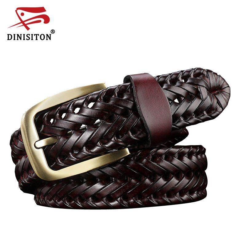DINISITON Woven belt genuine leather women's straps man belts Wide girdle Male cow skin vintage fashion brand ceinture <font><b>femme</b></font>