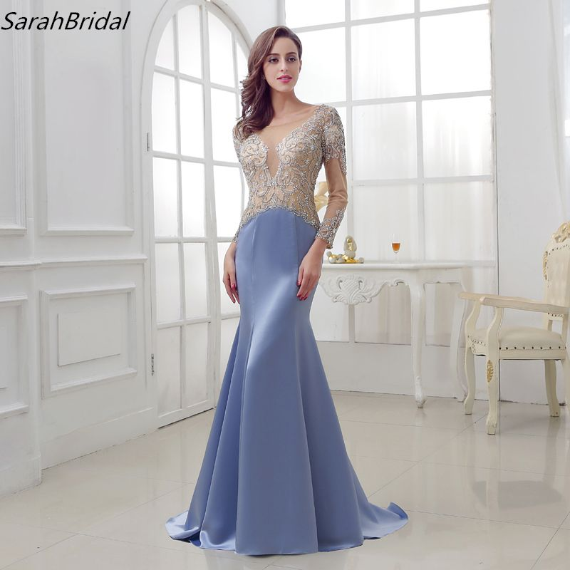 New In Stock Formal Evening Dresses 2017 Mermaid Bateau Zipper Sexy Back Floor Length Crystal Beading Robe De Soiree LSX287