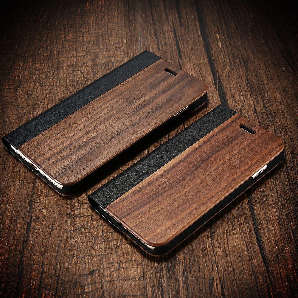 KISSCASE bambou Flip téléphone étui pour iPhone 8 7 6 6 s bois protecteur couverture pour iPhone 8 7plus X XR XS Max carte portefeuille couvertures