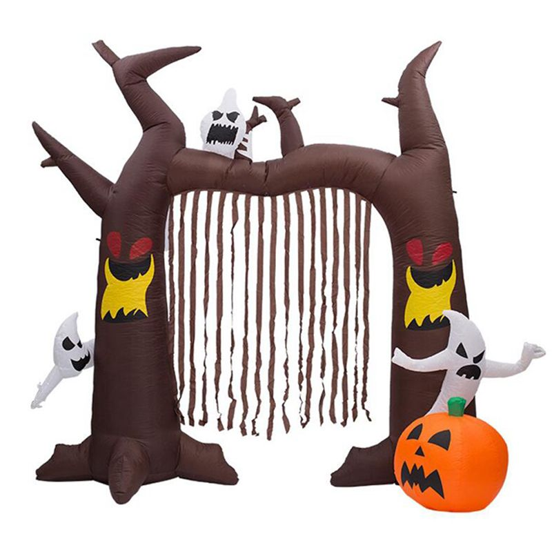 240cm Giant Halloween Inflatable Castle Archway with Pumpkins and Ghosts LED Lights Party Props Outdoor Lawn Holiday Yard Decor