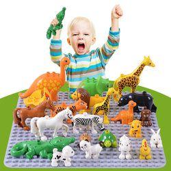 Duplos LegoINGlys Animal Model Figures big Building Block  Elephant monkey kids educational toys for children Gift Brinquedos
