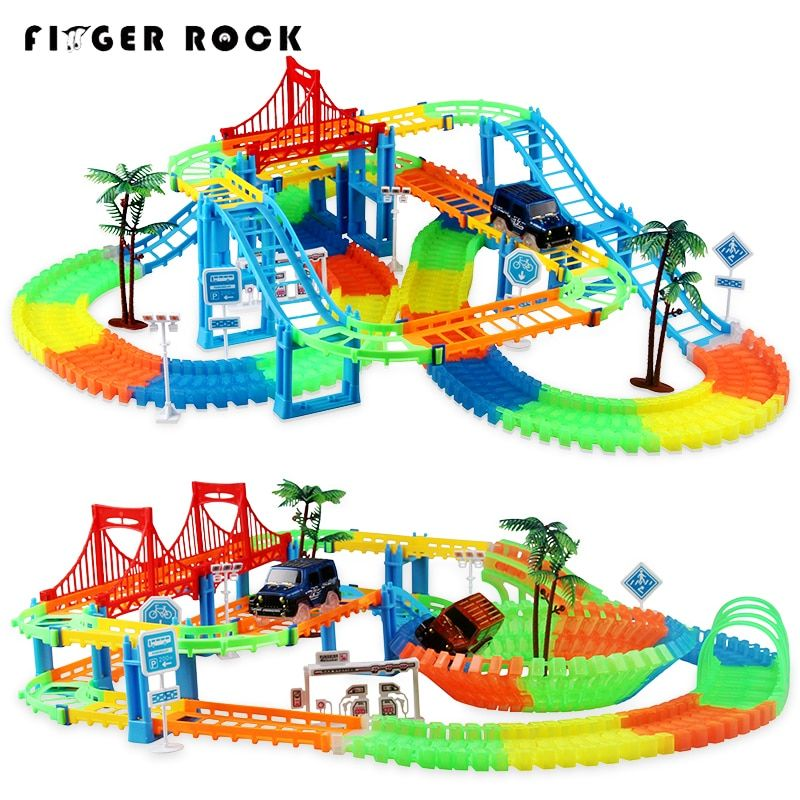 Connect 2 Type Railway Magical Racing Track Play Set DIY Bend Luminous Race Track Electronic Flash Light Car Toys For Children