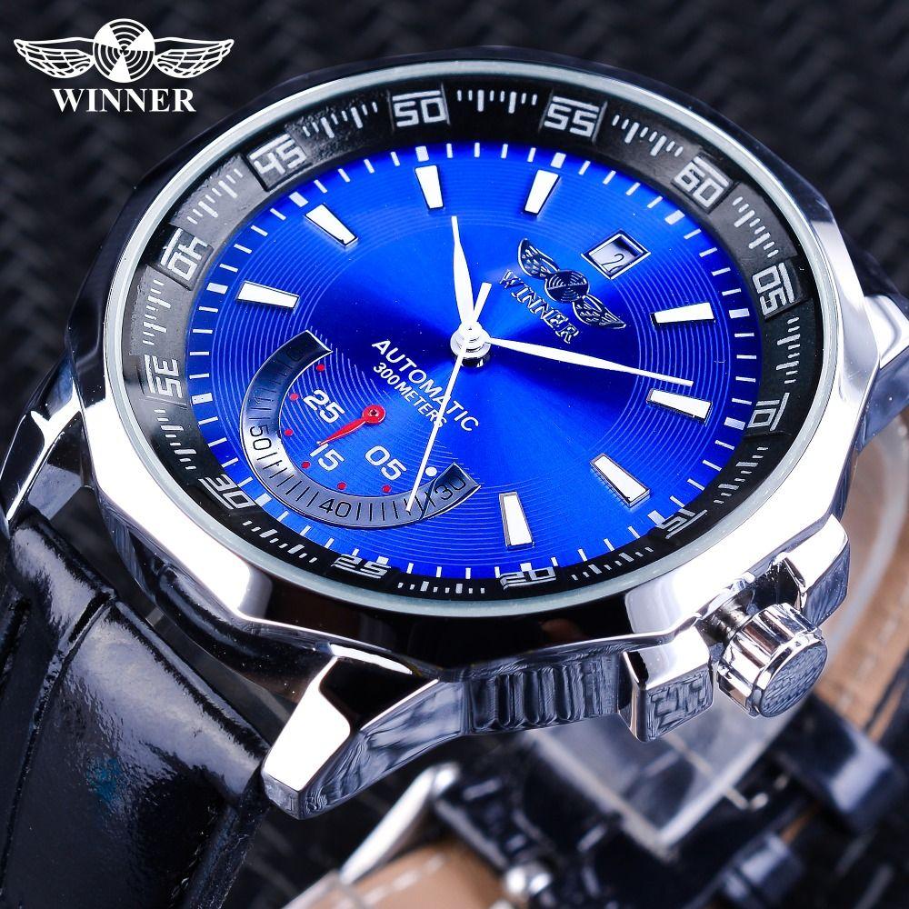 Winner Watches Irregular Shape Case Blue Dial Sport Clock Calendar Display Men's Mechanical Automatic Watches Luminous Hands