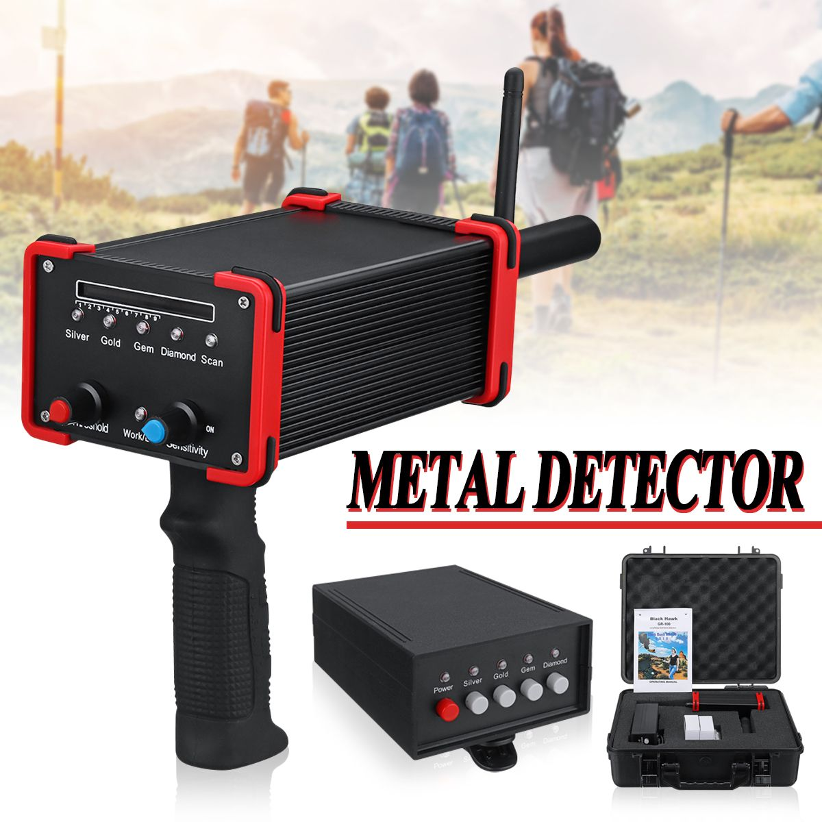30M Deepth Metal Detector GR100 Rechargeable Pointing Techlogy Long Range Underground Gold Gem Diamond Detectors