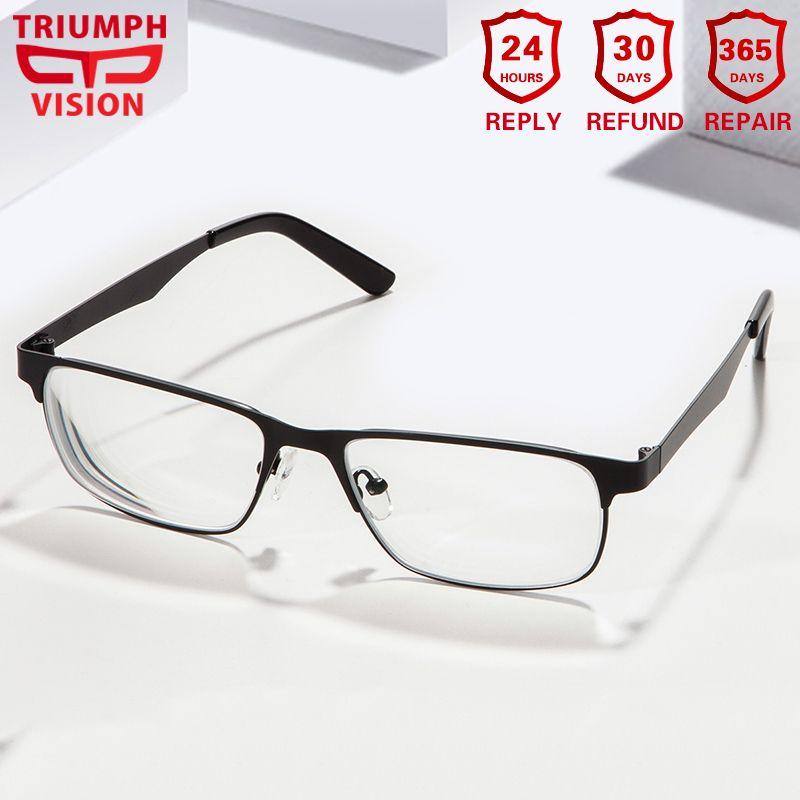TRIUMPH VISION Computer Reading Spectacles Metal Thin Frame Eyewear Ultra Light Eyeglasses Men Prescription Glasses Myopia Gafas