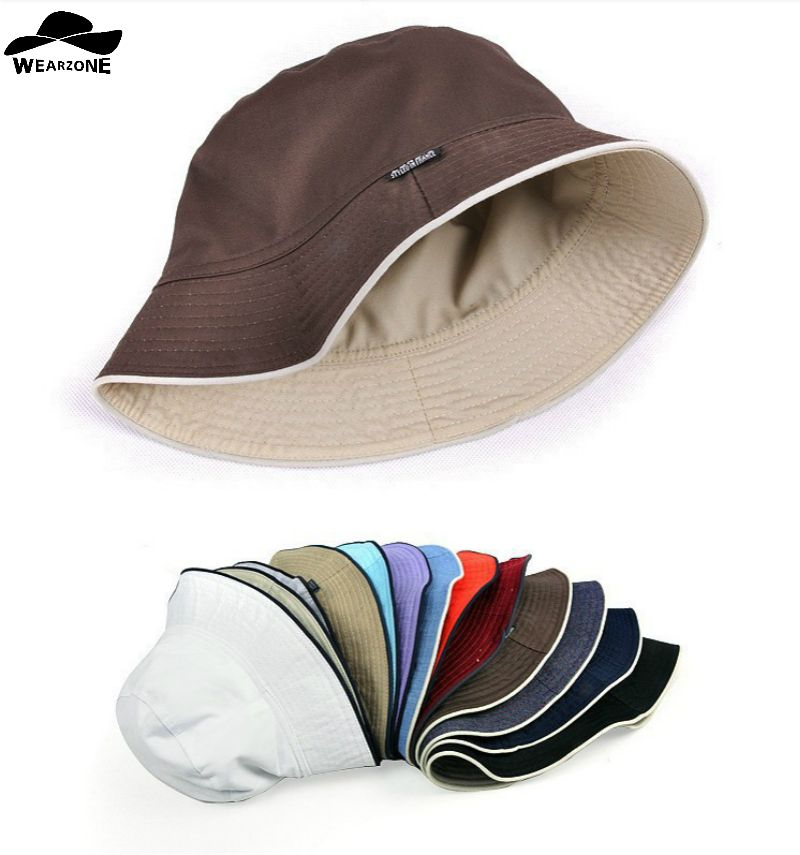 2017 plain Solid bucket hats men reversible two sides can wear 100% cotton sun bob cap comfortable fisherman hat