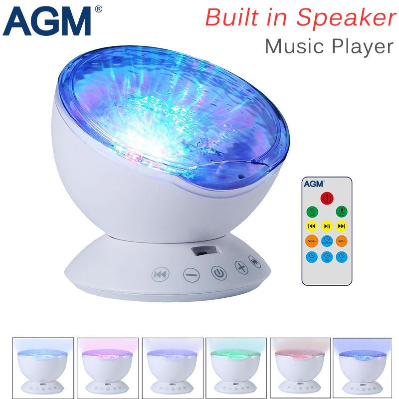AGM Ocean Wave Starry Sky Aurora LED Night Light Projector Luminaria Novelty <font><b>Lamp</b></font> USB <font><b>Lamp</b></font> Nightlight Illusion For Baby Children