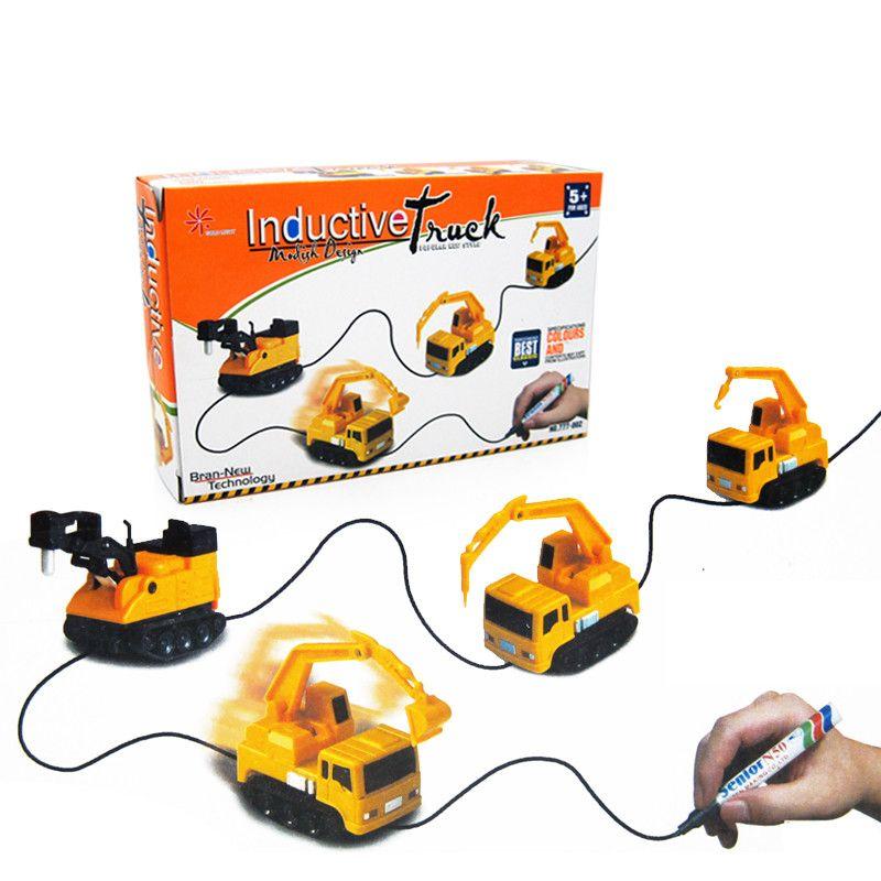 Véhicules d'ingénierie à chaud Mini camion jouet magique jouets de camion inductif pour enfants Figure stylo de voiture-citerne lignes de traction voiture de Rail à Induction