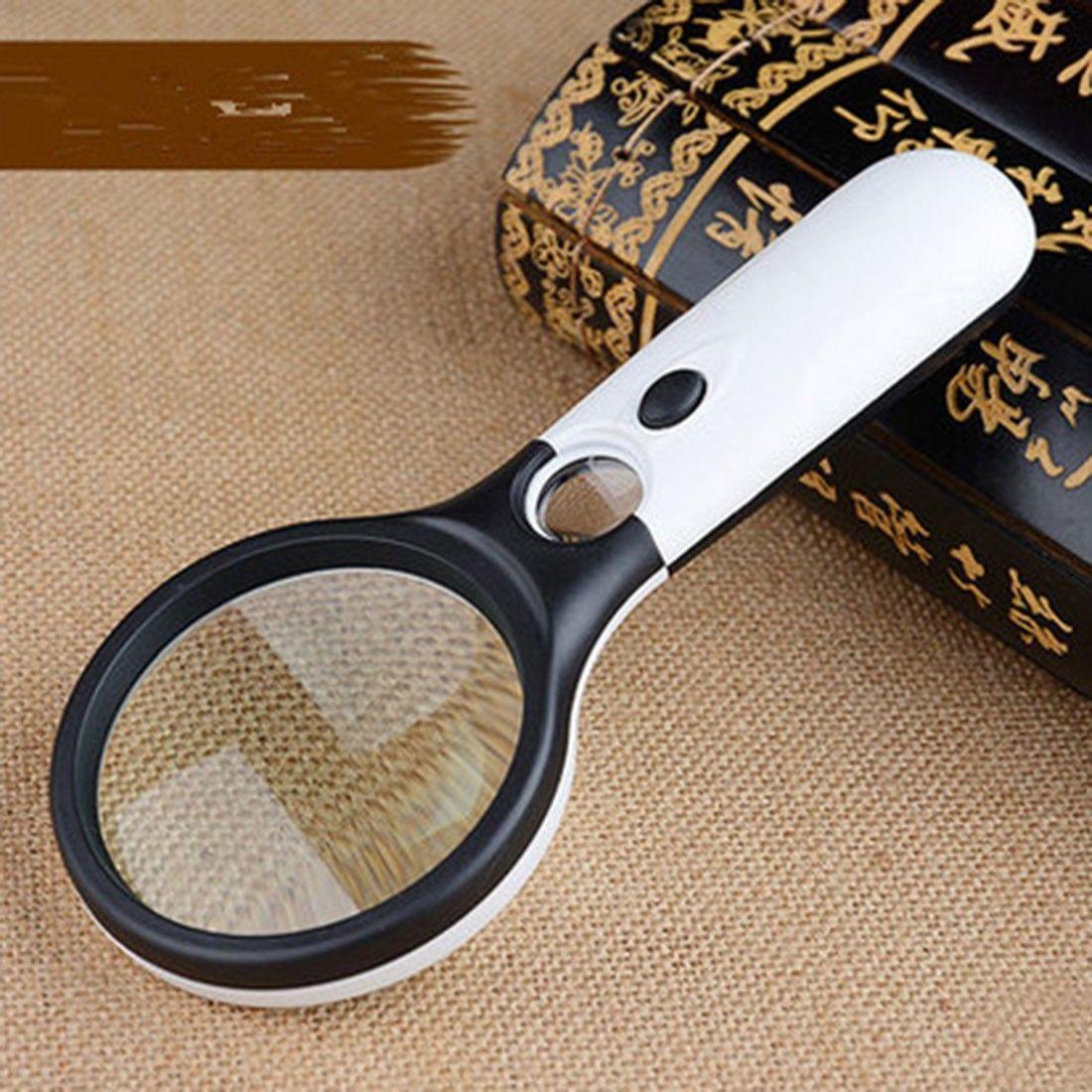 Poche 3X 45X loupe illuminée Microscope loupe aide à la lecture pour les personnes âgées loupe bijoux outil de réparation avec 3 LED