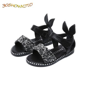JGSHOWKITO 2019 Hot Sale Baby Girl Sandals Fashion Bling Shiny Rhinestone Girls Shoes With Rabbit Ear Kids Flat Sandals 13-22CM