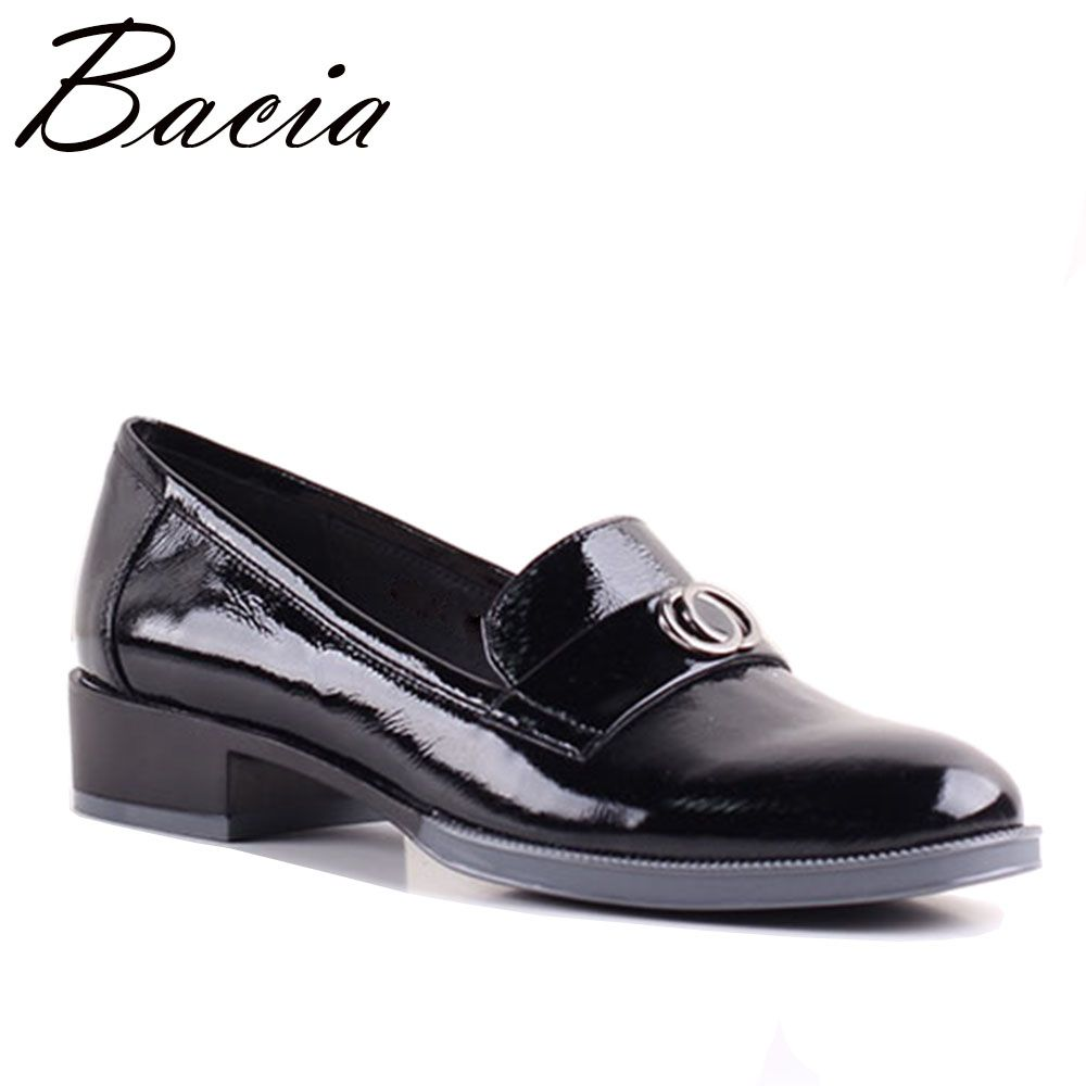 Bacia Women Slip-on Size 36-41 Black Soft Genuine Leather Shoes Pigskin Insole Causal Ladies Flat Shoes Free Shipping SB056