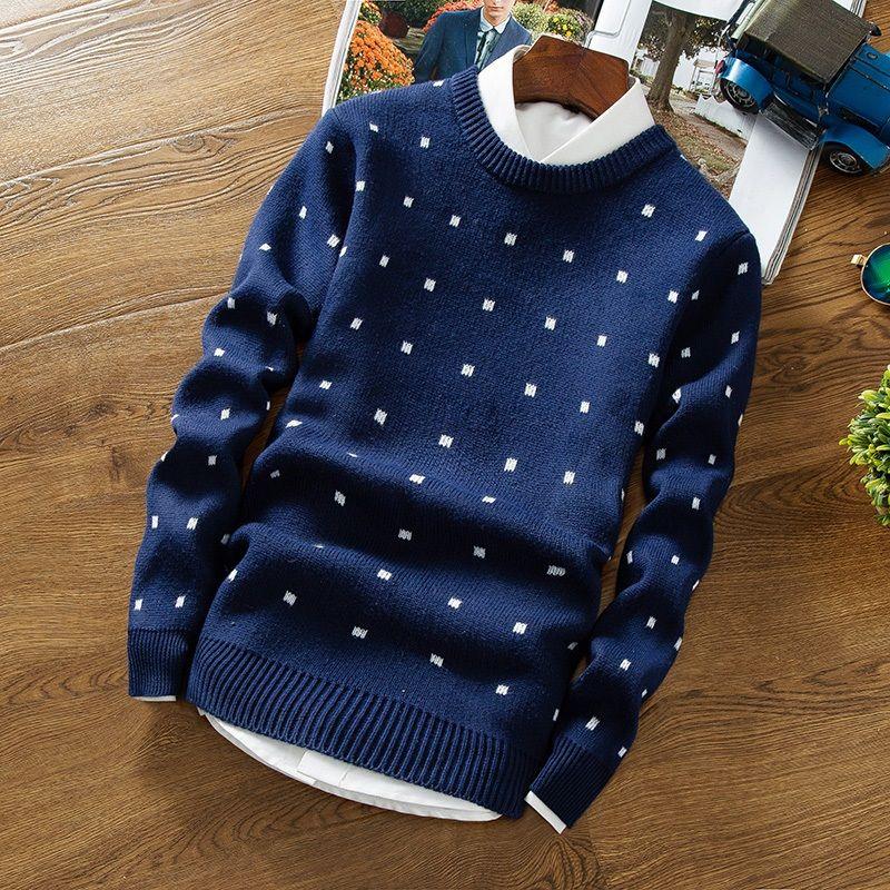 2017 Automne Hommes Pull Chandails Style Simple Coton O cou Chandail Cavaliers Mince Mâle Tricots Gris Noir