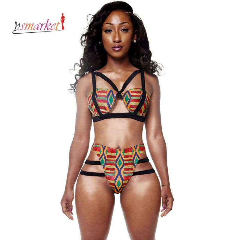 Maillot de bain imprimé africain femmes 2018 ensemble de Bikini inspiré de l'imprimé africain femmes maillot de bain à bretelles imprimé éthique maillots de bain africains XL