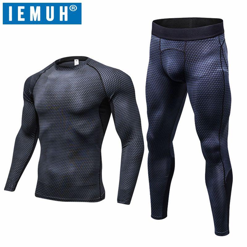 IEMUH Brand Outdoor Sports Men Winter Spring Thermal Underwear Breathable Quick Dry Fitness Hiking Ski Men Long Underwear Suit
