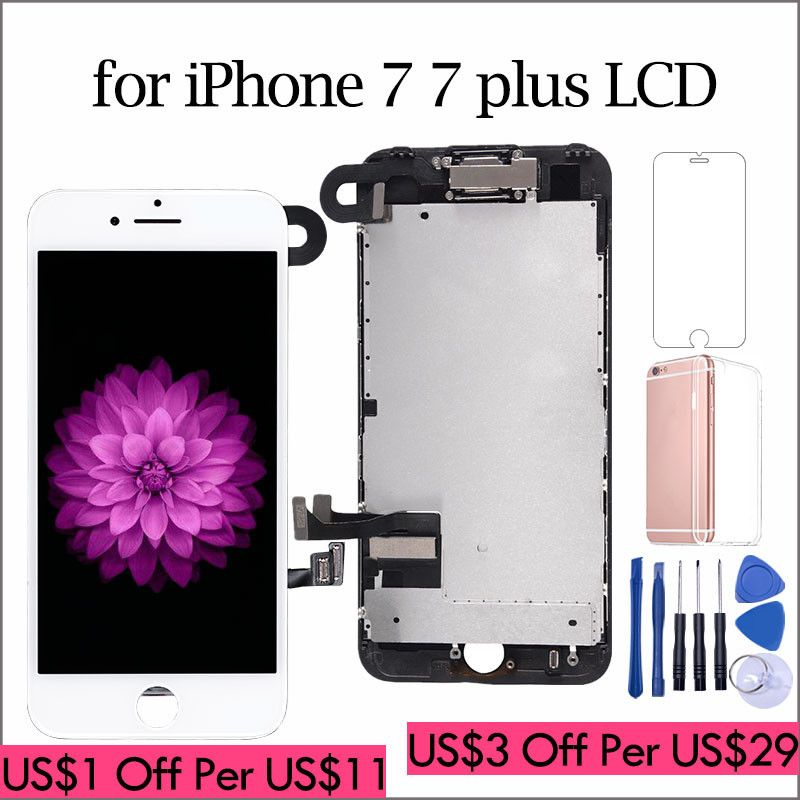 AAA++ LCD For iPhone 7 7 Plus Display Full Set Digitizer Assembly 3D Touch Screen Replacement +Front Camera+Earpiece Speaker