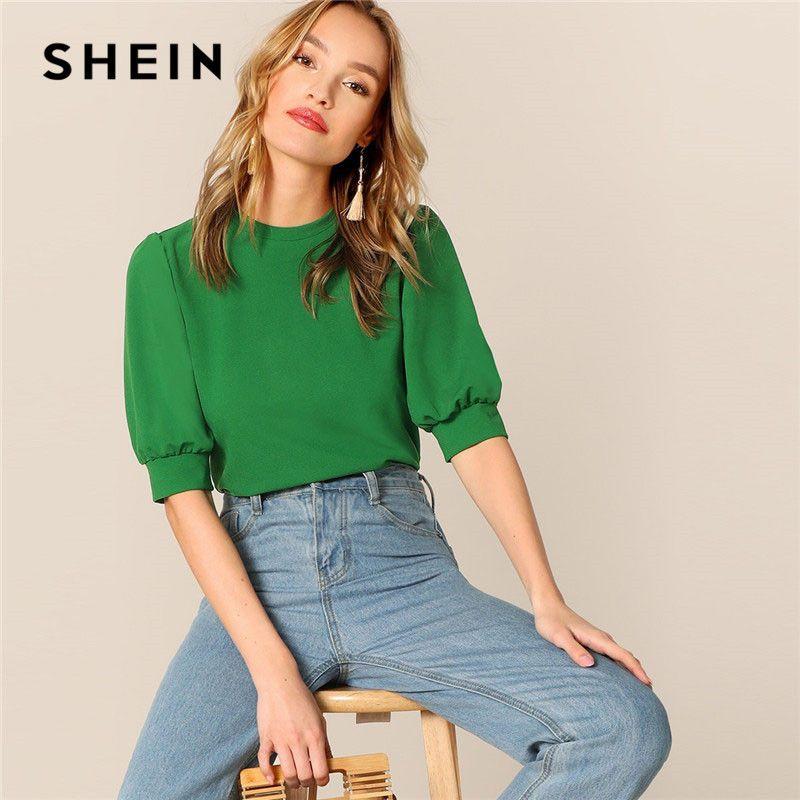 SHEIN dames décontracté vert manches bouffantes trou de serrure dos haut rigide et Blouse femmes 2019 d'été vêtements de travail demi manches Blouses élégantes
