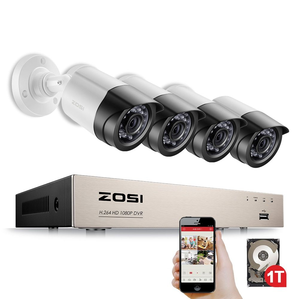ZOSI Security Camera <font><b>System</b></font> 4ch CCTV <font><b>System</b></font> DVR Security <font><b>System</b></font> 4CH 1TB 4 x 1080P Security Camera 2.0mp Camera DIY Kits