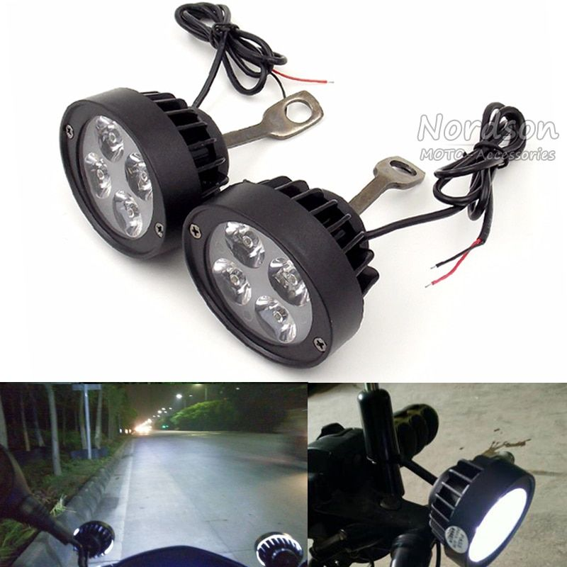 2 pcs Universal Motorcycle Motorbike LED Headlight Mirror Spot Light Spotlight Assist Lamp side Mirror mount installation Light
