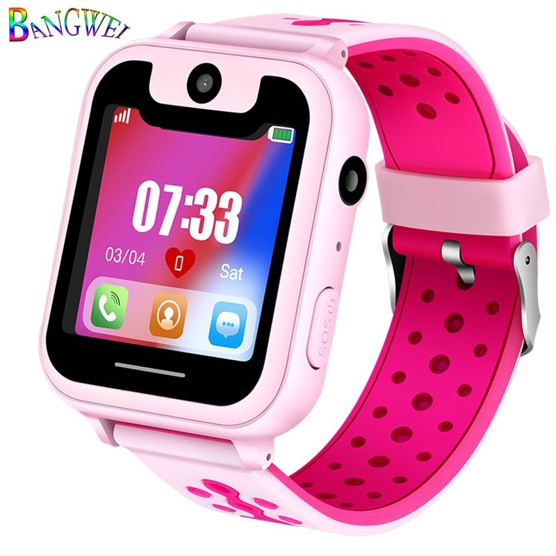 BANGWEI Hot Sale Children Phone Watch LBS Positioning Remote Monitoring Lighting SOS Kid Smart Watch Voice Chat SIM Card Camera