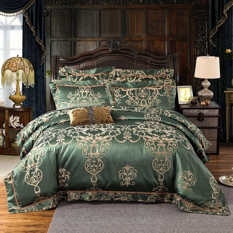 New arrval 29 Colors Stain Jacquard Luxury Bedding set King Queen size 4/6Pcs Bed set Bedsheet set Duvet/Quilt cover Pillow sham