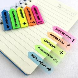 100 piezas de plástico auto-adhesivo Bloc de notas Sticky Notes Bookmark Post It Marker índice papel Bloc de notas oficina escuela papelería suministros