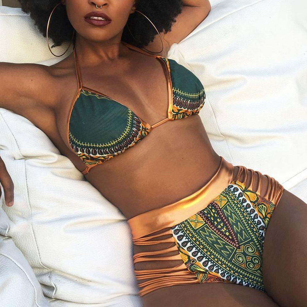 Impresión africana de dos piezas de baño Trajes 2017 bikini set sexy geométrica bañadores baño de oro de alta cintura Natación deportes sujetador