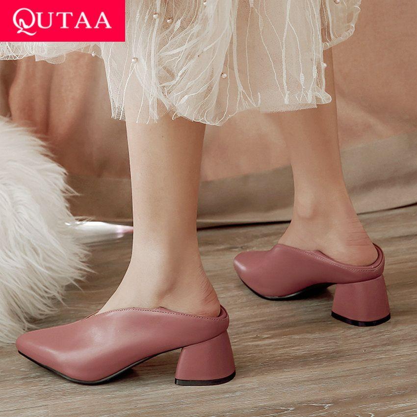 QUTAA 2020 femmes pompes mode Mules femmes chaussures carré haut talon bout pointu Pu cuir décontracté classique dames pompes taille 34-43