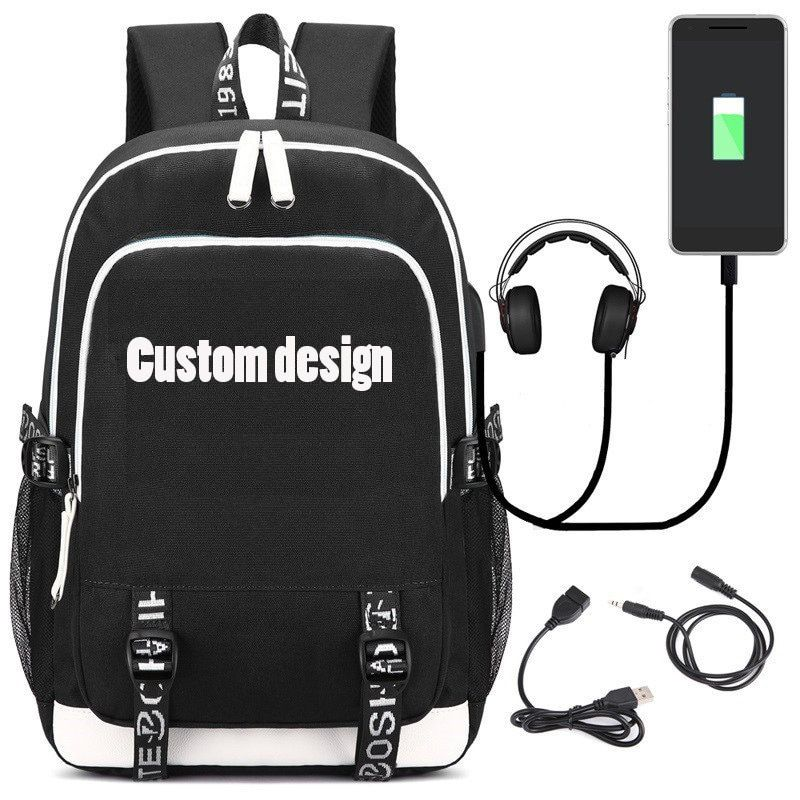 Fashion Backpack with USB Charging Port and Headphone Loptop School Bags for Teenage Girls and Boys Letter Bagpack Satchel