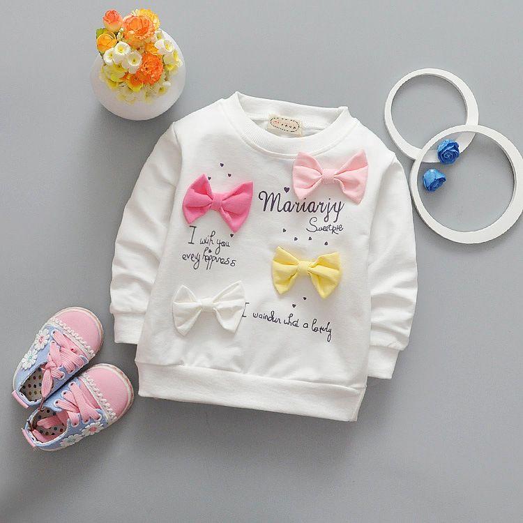2017 новая весенняя Детская футболка с длинными рукавами для маленьких девочек футболки детская одежда Симпатичные конфеты лук блузка для де...