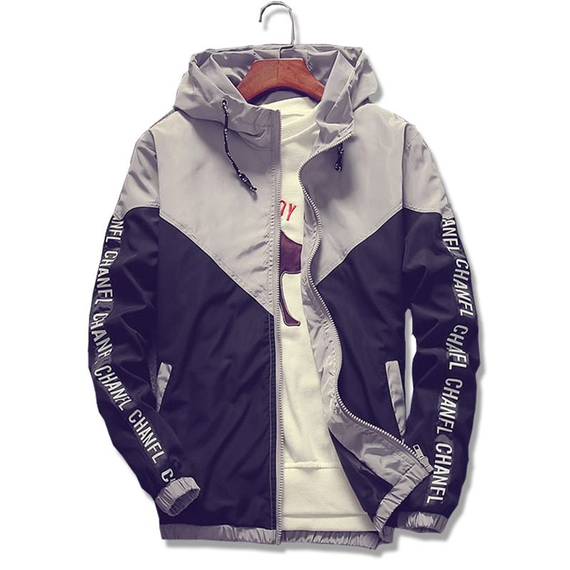 2018 New Hot Sale Men Hooded Thin Jackets Male Letter printing stitching Hoodie coat Waterproof Men Jackets white Large size 5XL