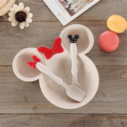 3 Pcs Children Baby Bamboo Tableware Solid Feeding Mickey Dishes Baby Bowl Plate Food Feeding Dinnerware Set Plates for Children
