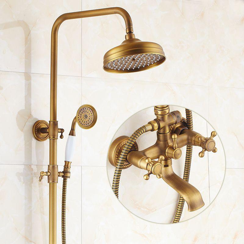 Badezimmer Retro antikes kupfer Messing Badewanne Dusche Gesetzt Wand Regendusche Mischbatterie Wasserhahn 3-funktionen Mixer Ventil