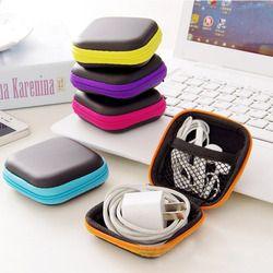 Heißer Mini Zipper Harte Kopfhörer Fall Tragbare Ohrhörer Pouch box PU Leder Kopfhörer Lagerung Tasche Schutzhülle USB Kabel Veranstalter