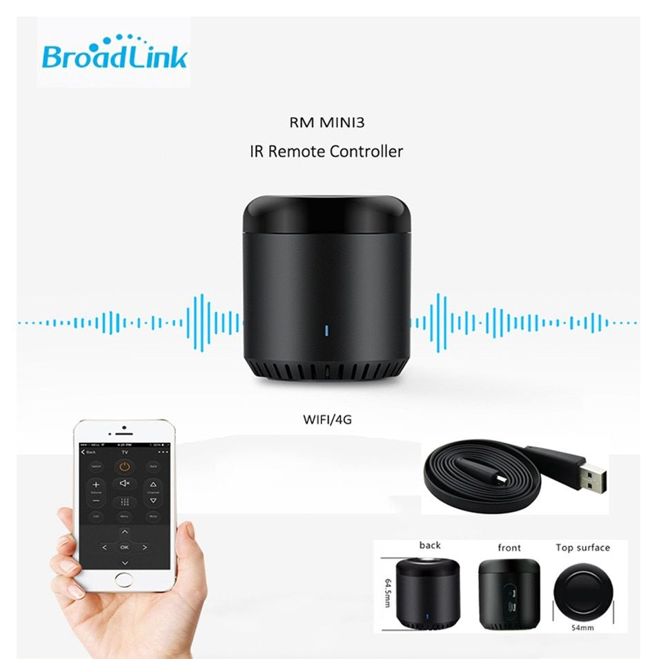 Nueva Broadlink RM Mini3, Domótica Inteligente, WiFi + IR + 4G, Universal Inteligente APP Wireless Mando a distancia IR, de Frijol negro