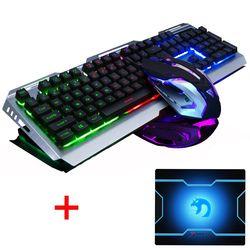 V1 con cable Arco Iris retroiluminado iluminado ergonómico Usb Gaming Keyboard Gamer 3200 DPI ratón óptico del juego ordenador portátil + Ratón pad