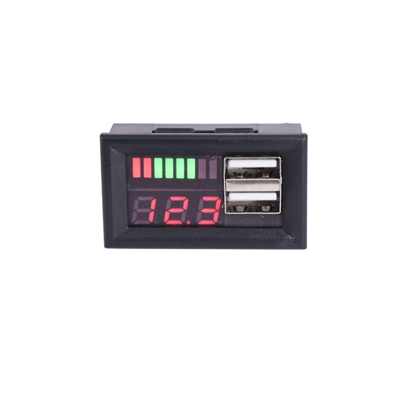 Red LED Digital Display Voltmeter Mini Voltage Meter Volt Tester Panel For DC 12V Cars Motorcycles Vehicles USB 5V2A output