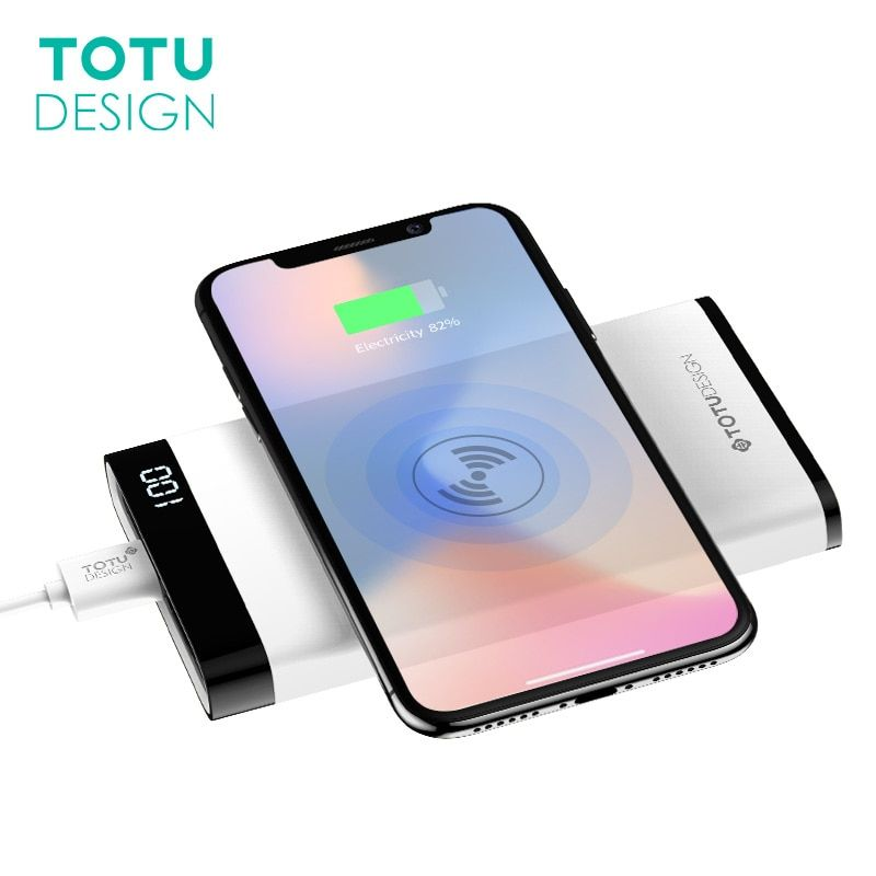 TOTU 8000mah QI Wireless Charger Power Bank LED Display For iPhone X 8 Plus 5V 2.1A Dual USB Ports External Battery Powerbank