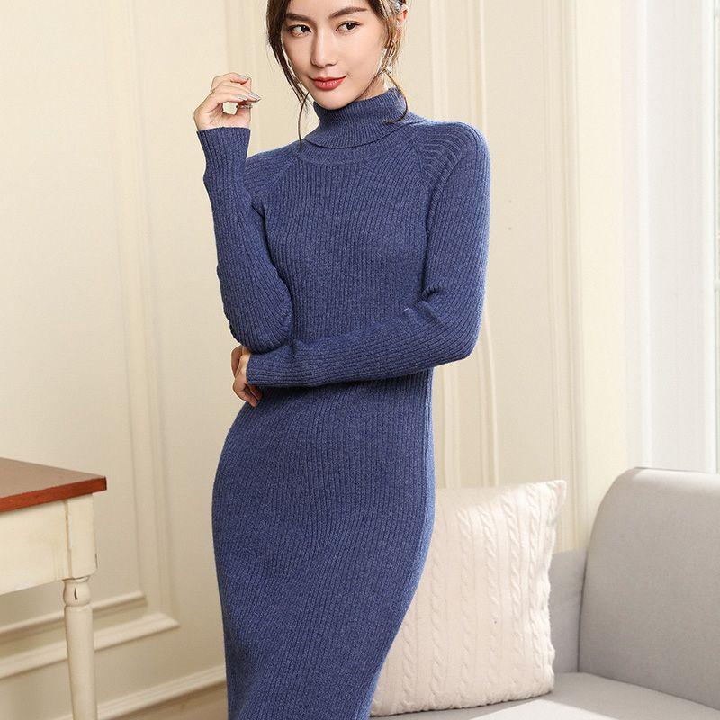 Women Dresses Sweater Plus Long 100% Pashmina Style Slim Jumpers female Pullovers Hot Sale Longer Dress Pure Cashmere Knitwear