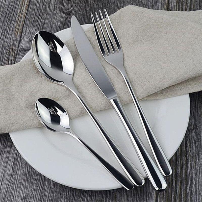 24pcs Dinnerware Set Stainless Steel Luxury Cutlery Set Vintage Mirror Soild Tableware Wedding Knives Forks Dinnerset Western