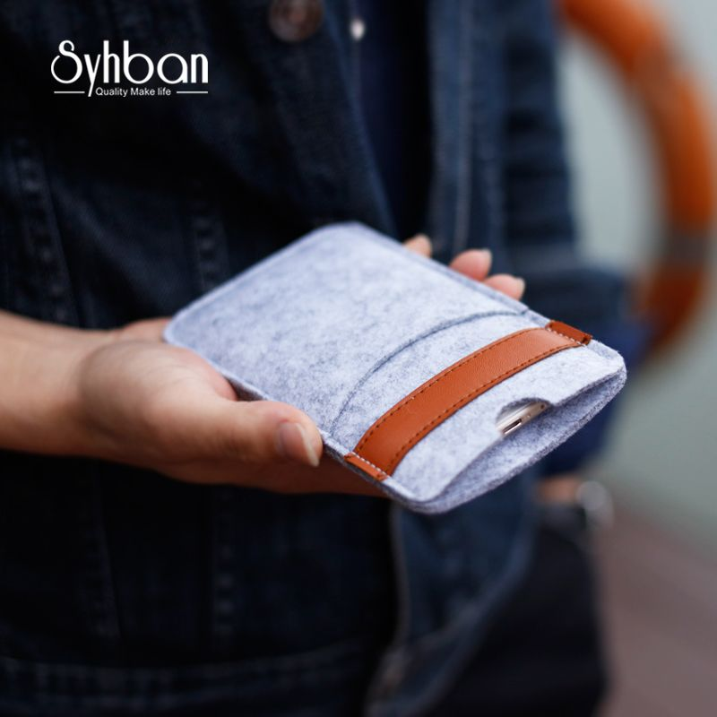 Mobile phone cover For iphoneX <font><b>5.5inch</b></font> or For iPhone6s 7Plus bags Handmade iPhone pouch Wool Felt Wallet For iPhone5 5C SE